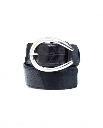 Womens Mock Croc Horseshoe Buckle Black Belt