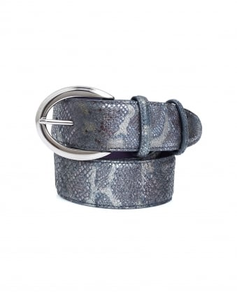 Womens Silver Buckle Metallic Python Effect Grey Belt