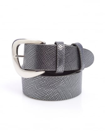Womens Silver Metallic Textured Saffiano Leather Belt