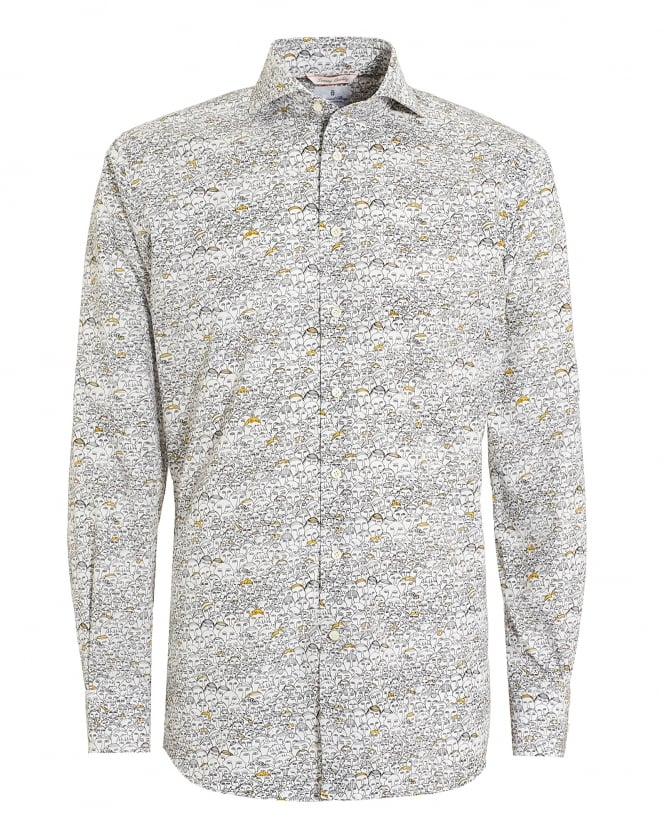 Emanuel Berg Mens Crowd Print Unwashed Cotton Shirt