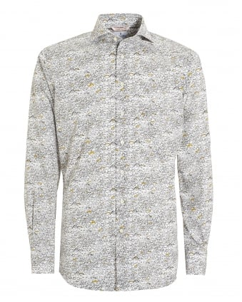 Mens Crowd Print Unwashed Cotton Shirt