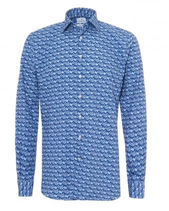 Mens Floral Squiggles Modern Fit Navy Sky Blue Shirt