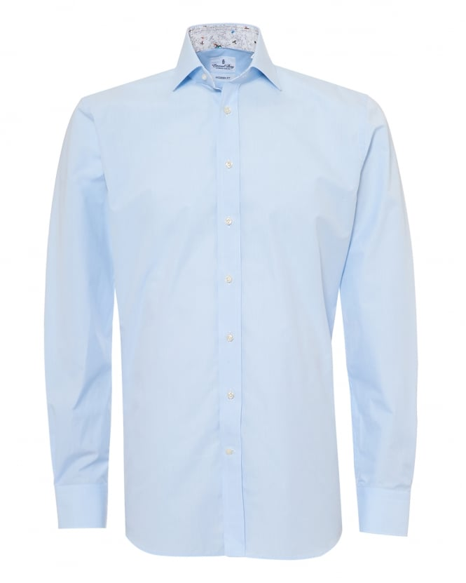 Emanuel Berg Mens Insect Cuff and Collar Insert Modern Fit Sky Blue Shirt