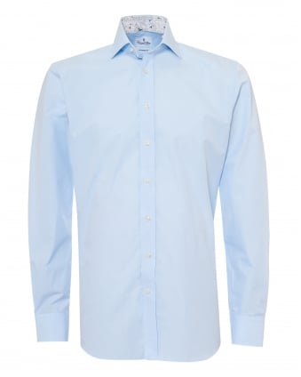 Mens Insect Cuff and Collar Insert Modern Fit Sky Blue Shirt