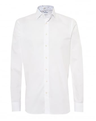 Mens Insect Cuff and Collar Insert Modern Fit White Shirt