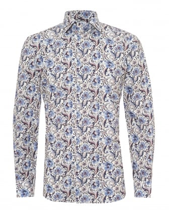 Mens Large Paisley Modern Fit Blue White Shirt