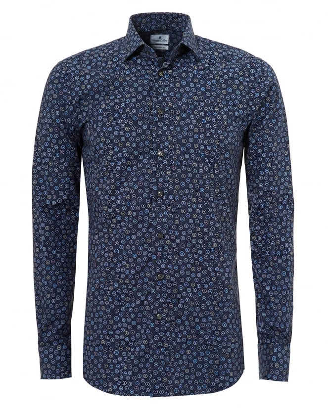Emanuel Berg Mens Mr Crown All Over Circles Navy Blue Shirt