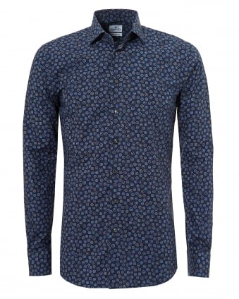 Mens Mr Crown All Over Circles Navy Blue Shirt