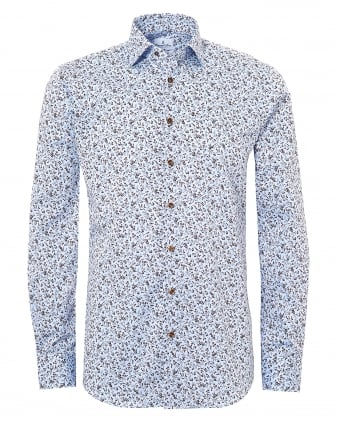 Mens Mr Crown All Over Climbing Floral Print Blue Shirt