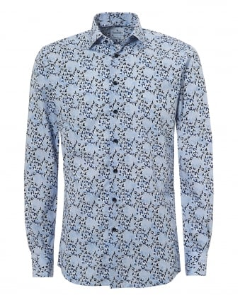 Mens Mr Crown All Over Panda Blue Shirt