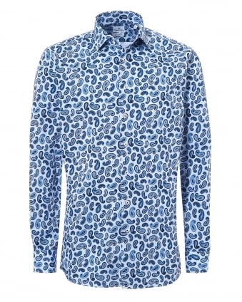 Mens Mr Crown Paisley Print Blue Shirt