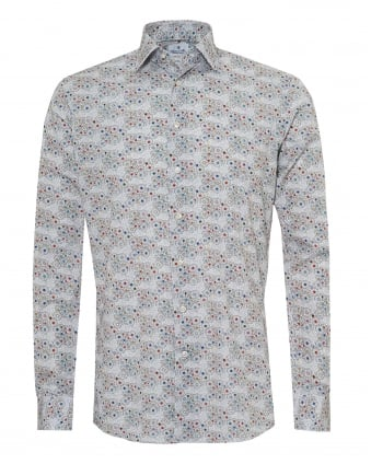 Mens Multi Coloured Daisy Print Modern Fit Grey White Shirt