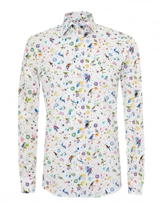 Mens Parrot and Fern Print Modern Fit White Shirt