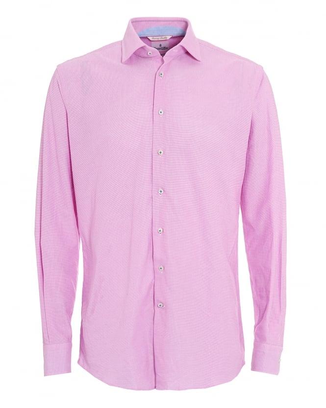 Emanuel Berg Mens Pink Micro Diamond Airtex Cotton Shirt