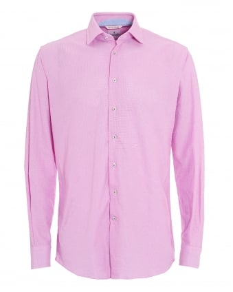 Mens Pink Micro Diamond Airtex Cotton Shirt