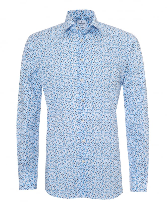 Emanuel Berg Mens Small Daisy Print Modern Fit Sky Blue Shirt