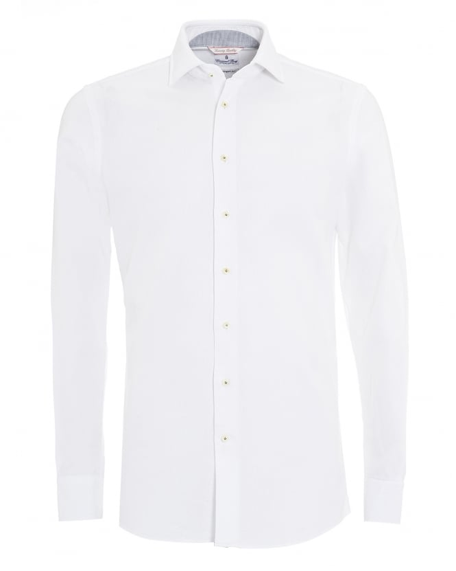 Emanuel Berg Mens White Micro Diamond Airtex Cotton Shirt
