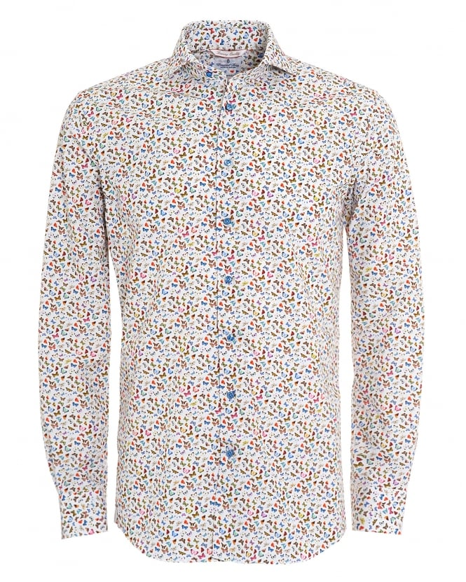 Emanuel Berg Mens White Small Butterfly Print Linen Shirt