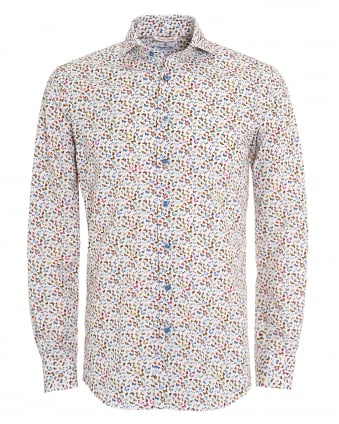 Mens White Small Butterfly Print Linen Shirt