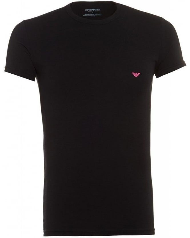 Emporio Armani Crew Neck Tee, Black Logo Slim Fit T-Shirt