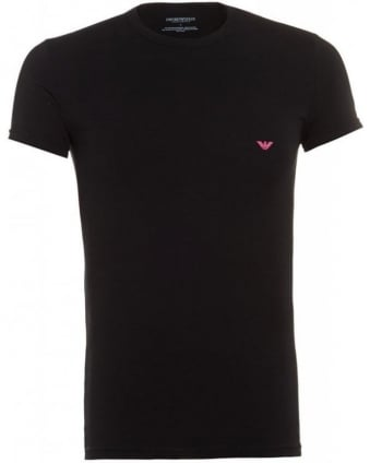 Crew Neck Tee, Black Logo Slim Fit T-Shirt
