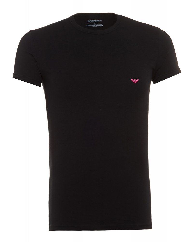 Black t shirt armani - Crew Neck Tee Black Logo Slim Fit T Shirt