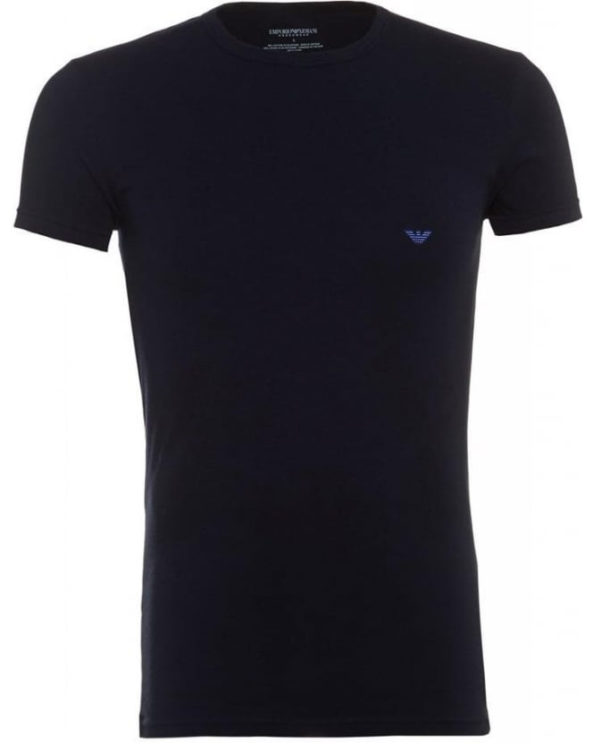 Emporio Armani Crew Neck Tee, Navy Logo Slim Fit T-Shirt