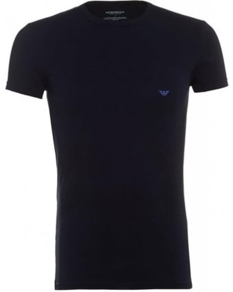 Crew Neck Tee, Navy Logo Slim Fit T-Shirt