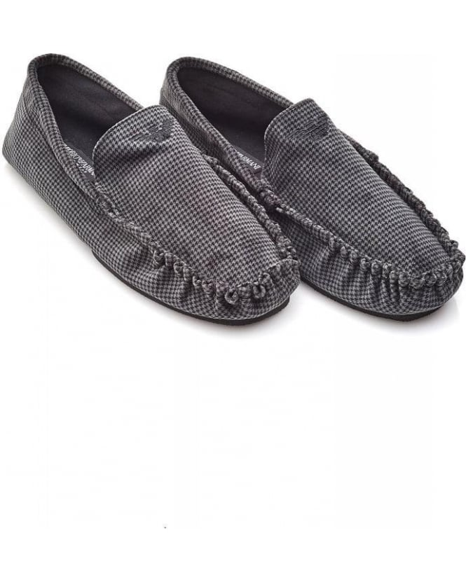 Emporio Armani Grey Houndstooth Moccasin Slippers