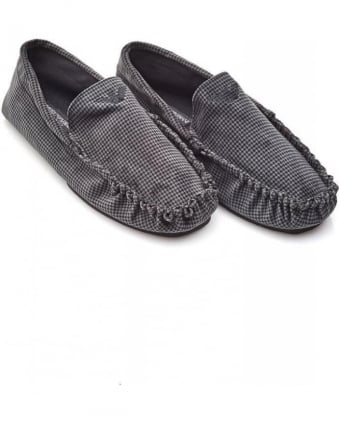 Grey Houndstooth Moccasin Slippers