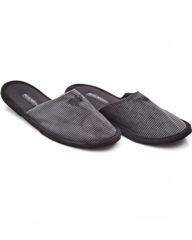 Emporio Armani Grey Houndstooth Slip-on Mule Slippers