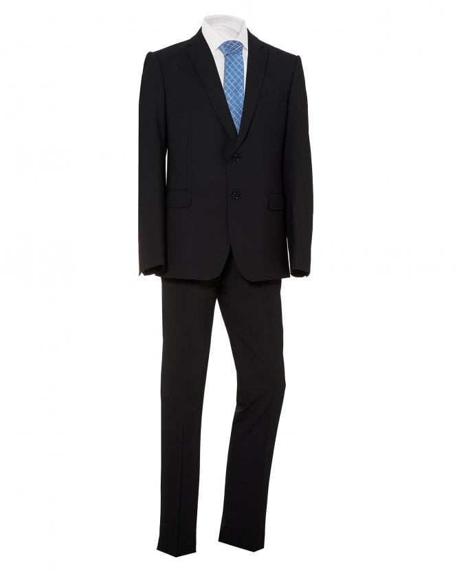 Emporio Armani Mens 2 Button Suit, Black Stretch Wool Suit