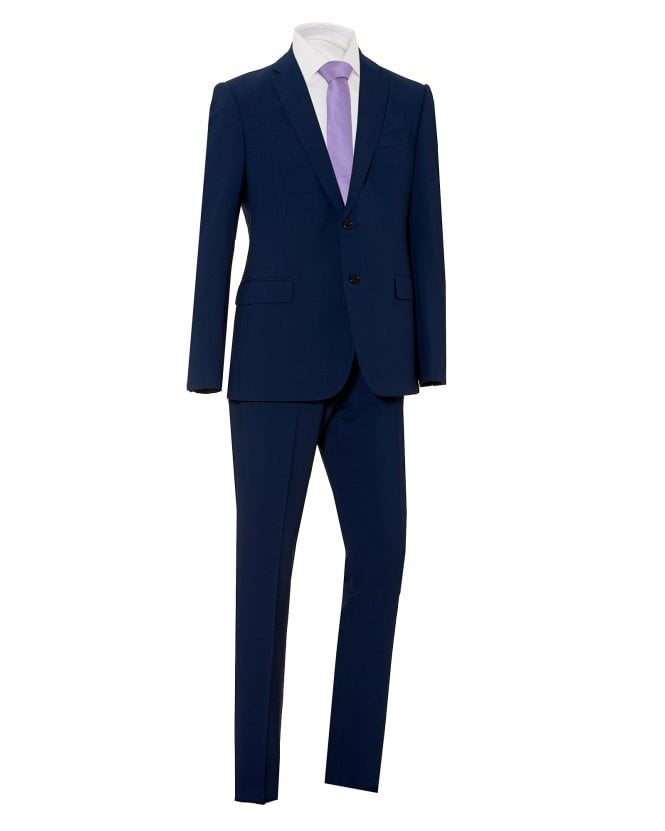 Emporio Armani Mens 2 Button Suit, Blue Stretch Wool Suit