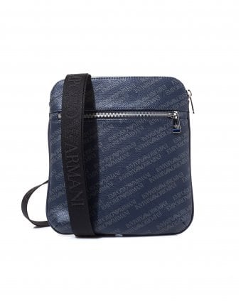 332ad09750ba Mens All Over Logo Navy Blue Crossbody Stash Bag. Emporio Armani ...