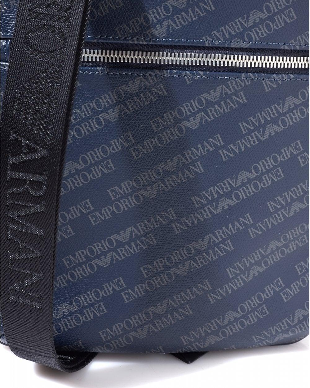 Emporio Armani Mens All Over Logo Navy Blue Crossbody Stash Bag 6341029332e3c