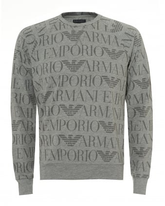 Mens All Over Logo Sweatshirt, Lightweight Grey Sweat