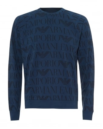 Mens All Over Logo Sweatshirt, Lightweight Stone Blue Sweat