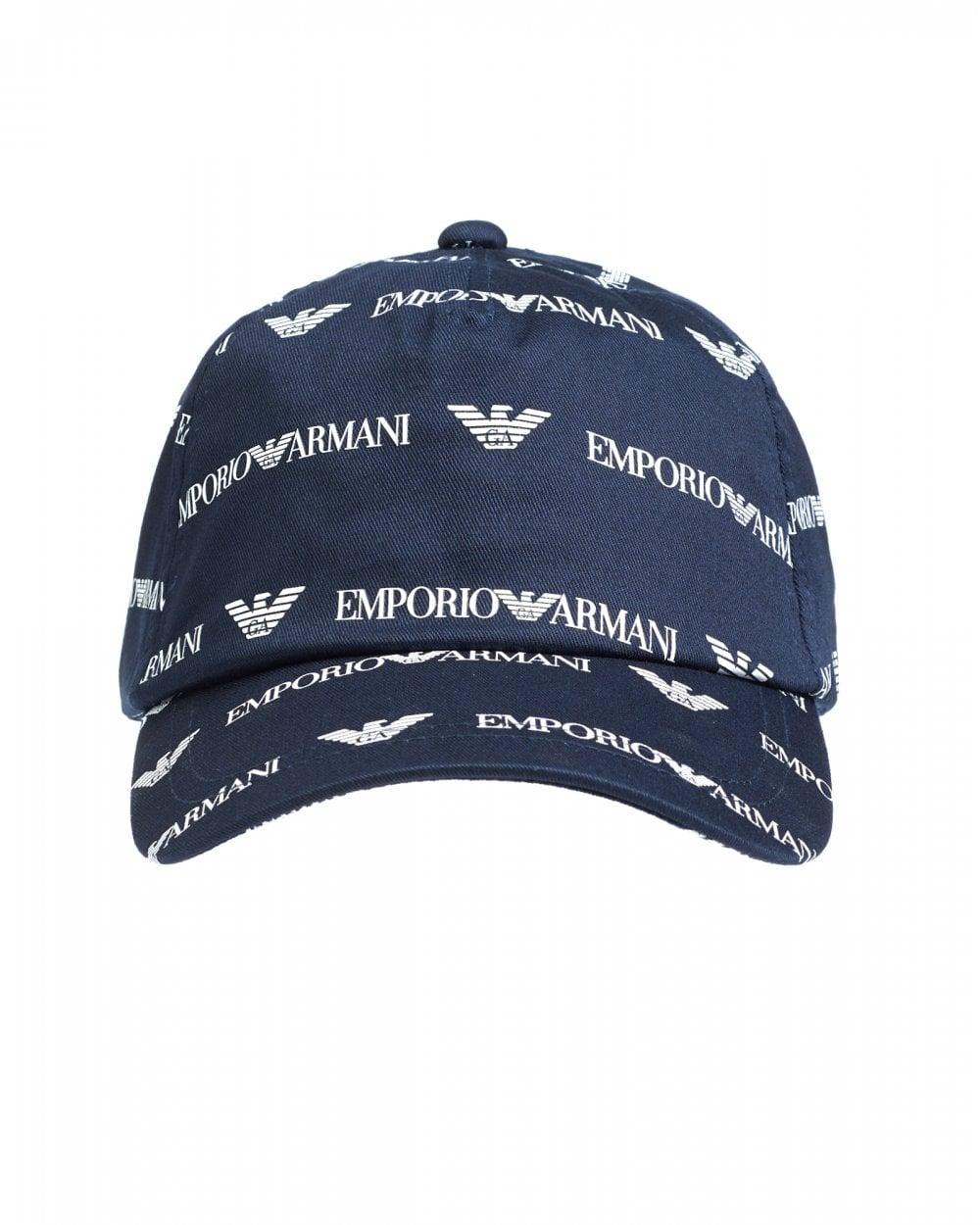 71061d8b Emporio Armani Mens Baseball Cap, All-Over Logo Hat