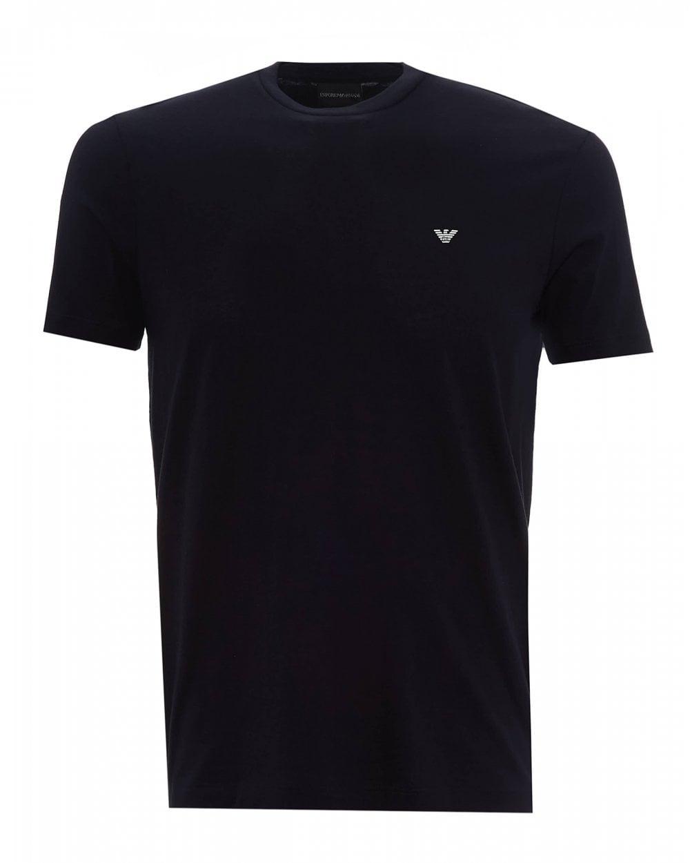 b4b9cc19 Emporio Armani Mens Basic Eagle Logo T-Shirt, Regular Fit Navy Tee
