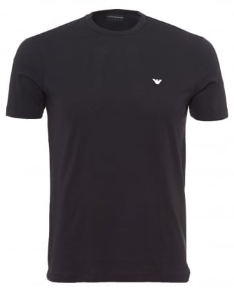 Mens Basic Logo T-Shirt, Regular Fit Navy Blue Tee