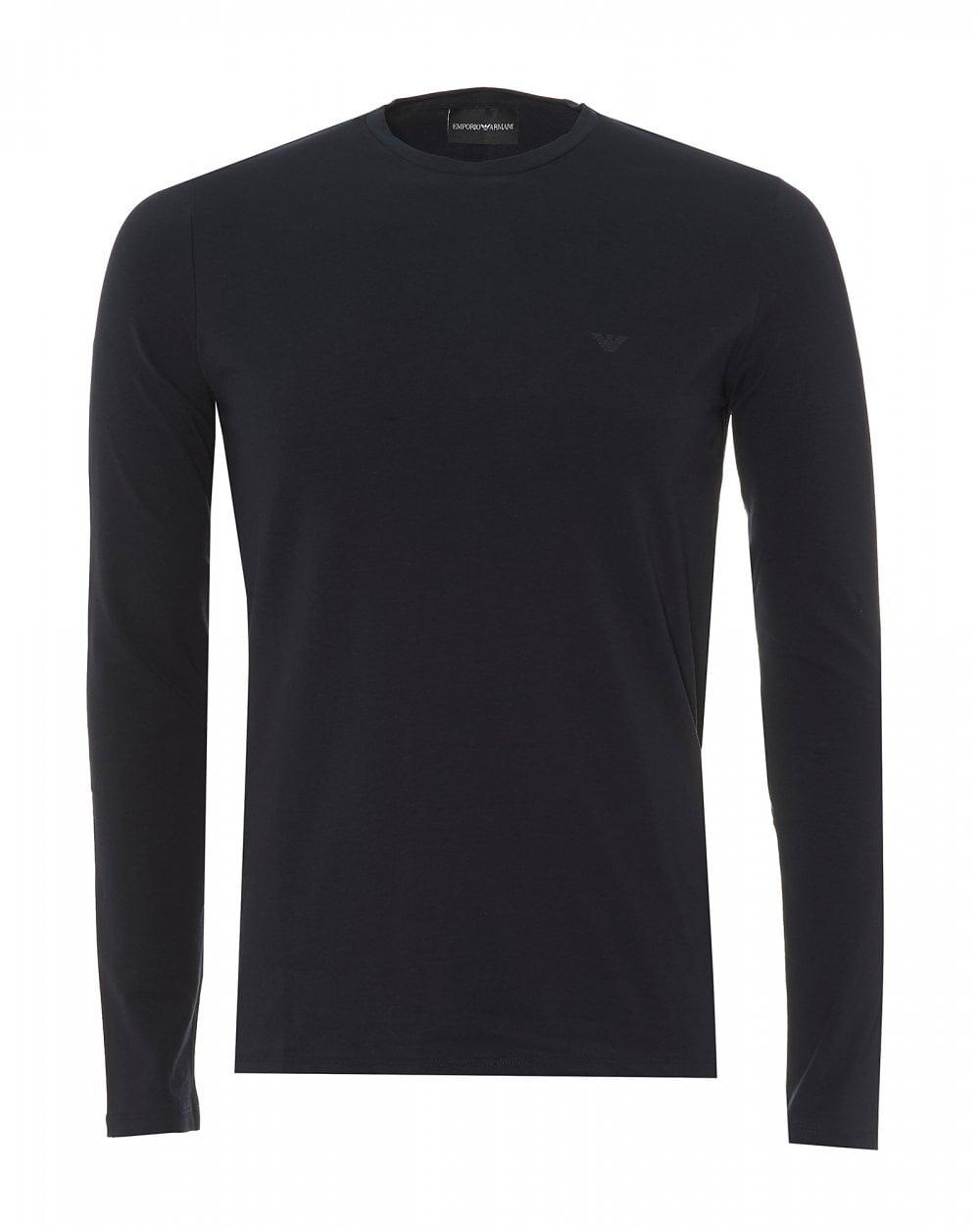 8b4c9d0b Emporio Armani Mens Basic Long Sleeve T-Shirt, Navy Blue Regular ...