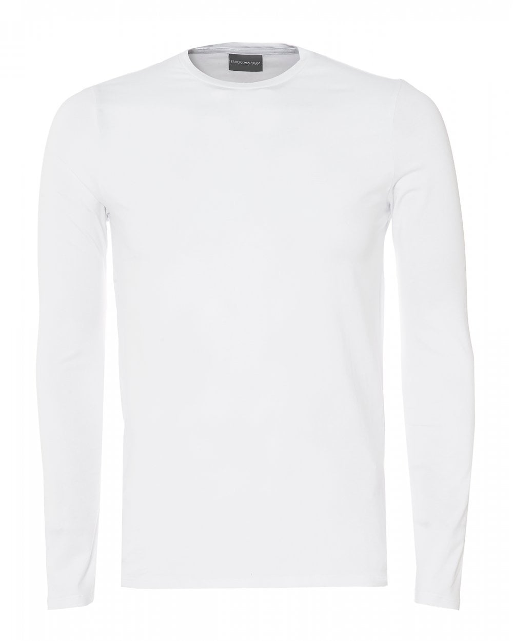21a08722 Emporio Armani Mens Basic Long Sleeve T-Shirt, White Regular Fit Tee