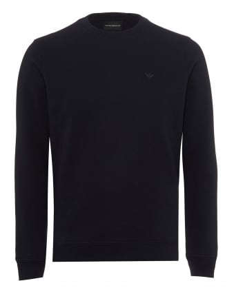 Mens Basic Sweatshirt, Regular Fit Navy Blue Jumper