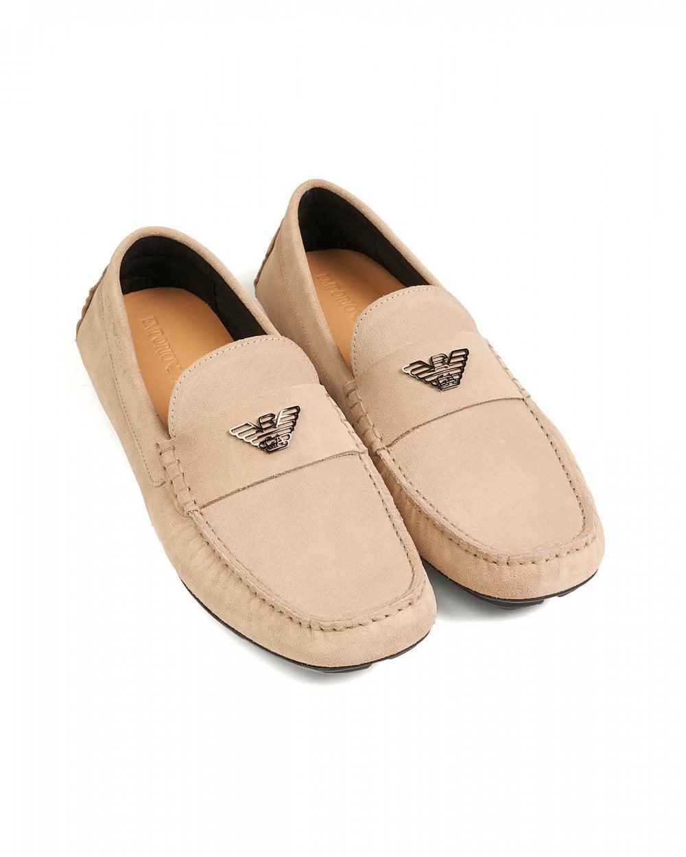 80593ac9072 Emporio Armani Mens Beige Driver Shoes