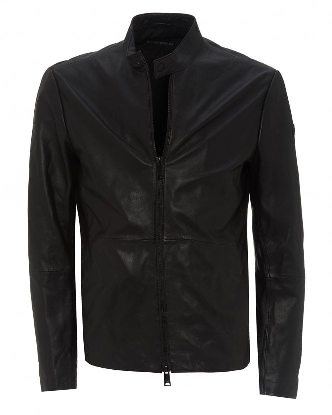 Emporio Armani Mens Black Leather Biker Jacket, Leather Coat