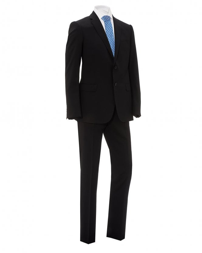 Emporio Armani Mens Black Natural Stretch Wool Suit
