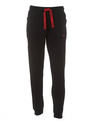 Mens Black Trackpants, Cuffed Eagle Logo Sweatpants