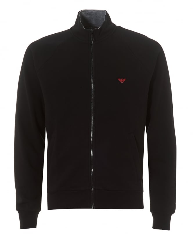 Emporio Armani Mens Black Zip-Up Regular Fit Logo Sweatshirt