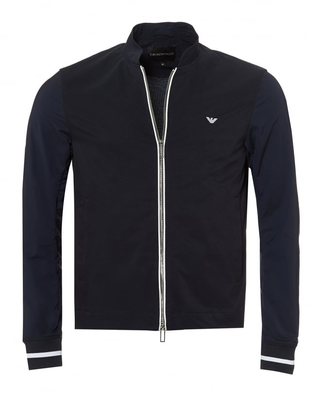 Emporio Armani Mens Bomber Jacket, White Tipping Grid Effect Navy Blue Jacket