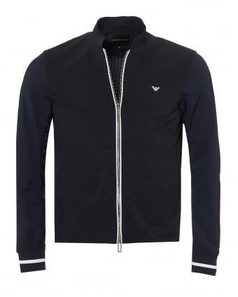 Mens Bomber Jacket, White Tipping Grid Effect Navy Blue Jacket